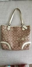COACH HERITAGE STAR SIGNATURE C GOLD BROWN TOTE PURSE F18853