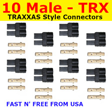 10 Male TRX TRAXXAS CONNECTOR PLUG LIPO NIMH E-REVO SLASH RALLY SUMMIT RUSTLER