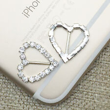 50x Heart Rhinestone Crystal Buckles Ribbon Sliders Diamante Wedding Decoration
