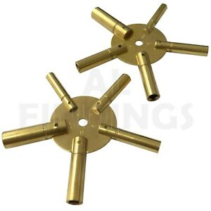 SET OF 2 CLOCK WINDING KEYS ALL SIZES BRASS SPIDER STAR PAIR: ODD AND EVEN 2-11