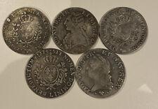 Lot De 5 Pieces Ecu Louis XVI Aux Palmes 1774 1776 Plaqué Argent Semeuse Hercule