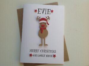 Handmade personalised Christmas card- Daughter, Granddaughter,Goddaughter, Niece