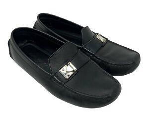 Louis Vuitton Logo Slipper Fahren Schuhe Flache #38 US 7.5 Schwarz Leder Rankab