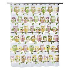 Whooty Hoot Owl Fabric Shower Curtain Bath Pastel Color White Bird Home Decor