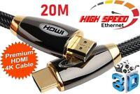 PREMIUM UltraHD HDMI Cable v2.0 High Speed 4K 2160p 3D Lead HDTV HD 20M Meter Uk