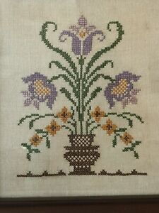 Vintage Wood Framed Lavender Floral Amish Tulips Cross-Stitch Sampler Jane Snead