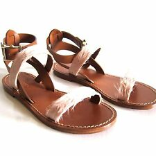 F-971190 New Valentino Sandals Tan Leathers with Pink Feather Marked 35 US 5