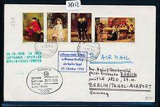 78052) LH FF Berlin - Zürich Schweiz  29.10.90, cover Brief ab Jersey