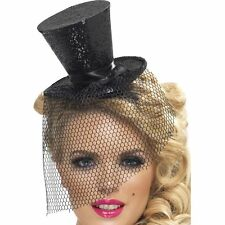 Ladies Black Glitter Fascinator Head Band Top Hat with Detachable Netting