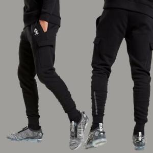 Gym King Designer Mens Tape Cargo Slim Joggers Jogging Bottoms Tracksuit Pants