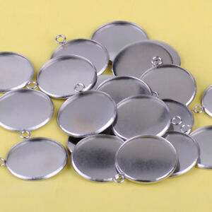 20pcs 25mm Pendant Tray Round fit for Cabochon Setting Blank Bezel Base