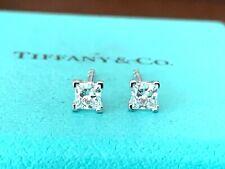 Tiffany & Co Platinum 0.34ct Princess Cut Diamond Solitaire Stud Earrings