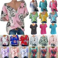 Womens Boho T Shirt Blouse Tunic Tops Holiday Summer Baggy Tee Shirts Plus Size