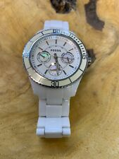 Womens White Fossil MOP Watch ES2540 All White Resin Day Date Hour