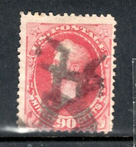 Sc#166 90c rose carmine used black cancel vg condition 1873 Continental Banknote