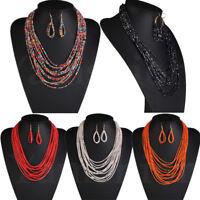 Fashion Chain Resin Seed Beads Type Choker Collar Statement Pendant Bib Necklace