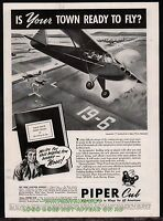 1944 PIPER Cub  Aircraft WWII Vintage Aciation AD landing strip for your town