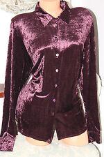 BONMARCHE bordeaux shiny elasticated velvet fitted shirt blouse top size 20