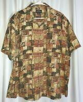 Woolrich Men's Paprika Primitive Blocks SS Beige & Green Button Up Shirt XL