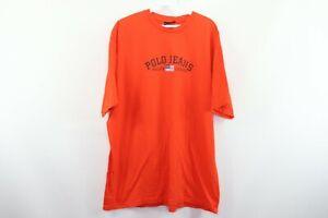 Vtg 90s Ralph Lauren Polo Jeans Mens 2XL USA Flag Logo Spell Out T-Shirt Orange