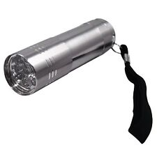 9 ULTRA BRIGHT LED POWERFUL SMALL CAMPING TORCH FLASH LIGHT LAMP SILVER UK 3D