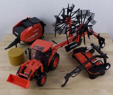 Lot of 4 Kubota Tractor & Farm Implements Hay Baler Rake Mower Die Cast Plastic