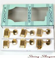 Kluson M6V0G Vintage Single Line Oval tuners/machine heads 6inline Gold 8.5mm