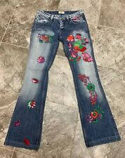 Antik Denim Size 26 Distressed Jeans with Embroidery Cool Boho Bell Low-Mid Rise