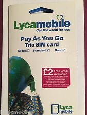 Lycamobile UK Sim Card Prepay Cheap International Calls Standard/Micro/Nano