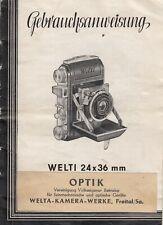 PDF Welta WELTI 24x36 mm Kamera Bedienungsanleitung Manual