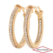 Judith Ripka White Stone Sterling Silver Gold Tone Hoop Earrings 8.2 Grams NR