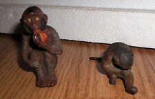 lot of 2 vintage prewar Lineol Elastolin sitting apes animal figure