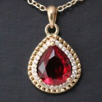"Red Ruby Round Diamond Halo Pendant Necklace 14K Yellow Gold Jewelry 18"" YR11"