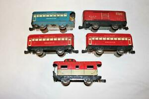 Lot Tin Marx Marlines Train Cars-Pullman Bogota-Observation-NYC Caboose-B&LE-BG