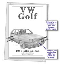 Volkswagen Golf Mk2 1989 portrait greetings card