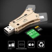 4 IN 1 Typ C Speicherkartenleser, Micro-SD Adapter für iPhone Android iPad USB