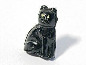1920's Czech Glass Miniature Lucky Black Cat Cracker Jack Charm SLIM STYLE #CJ11