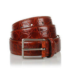 MEN'S BELT REAL SKIN OF CROCODILE GOLD MADE IN ITALY 120cm/3,5cm NEW