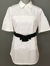 New  Max Mara Weekend Cotton embroidered White Shirt-tunic,Size:4,10, MSRP $325.
