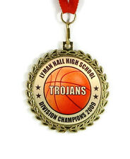 Basketball Medal- Team Award- Minimum Order 6- Custom Wording- Free Neck Ribbon