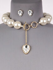 Gold and Cream Pearl Necklace Set With Pear Shaped Crystal Stone Accent