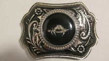 Vintage new old stock Silver & black  Belt Buckle w/39mm SHRINER emblem black