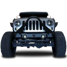 Stinger Front Bumper For 07-18 Jeep Wrangler JK w/ LED Fog Lights & Winch Plate