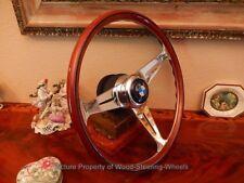 "BMW 02  2000 2002 Wood Steering Wheel NARDI 15.3"" BMW Horn Button BMW HUB BOSS"
