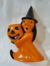 Old Halloween Witch And Jack-o-lantern Candy Container
