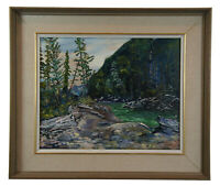 1959 Boris Beacher Oil Painting on Canvas Impressionist Landscape Forest Stream