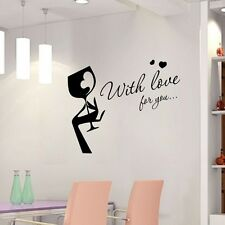Wine Glass With Love For You Hand Art Wall Sticker Decal Kitchen Bar Pub Decor