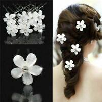 Lot 5Pcs White Pearl Flower Hair Pins Rhinestone Crystal Wedding Bridal Clips