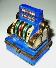 LIMOGES BOX ~ ANTIQUE SLOT MACHINE ~ LAS VEGAS ONE-ARMED BANDIT ~ PEINT MAIN