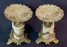A 19èm superbe paire cassolettes à guirlandes 21cm2.4kg albâtre bronze ange